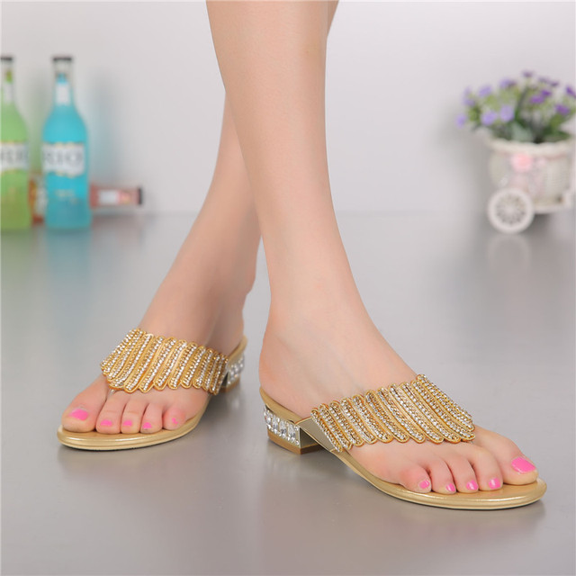 f051482bad80 G-SPARROW 2018 Summer New Gold Diamond Women s Comfort Shoes Stylish  Elegant Bridal Flip Flops Slippers Sale