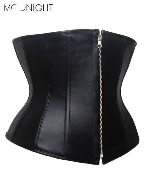 MOONIGHT Hot sale Personal 2015 NEW Arrival +Free Shipping +Sexy Black Faux Leather underbust  Zipper  corsets