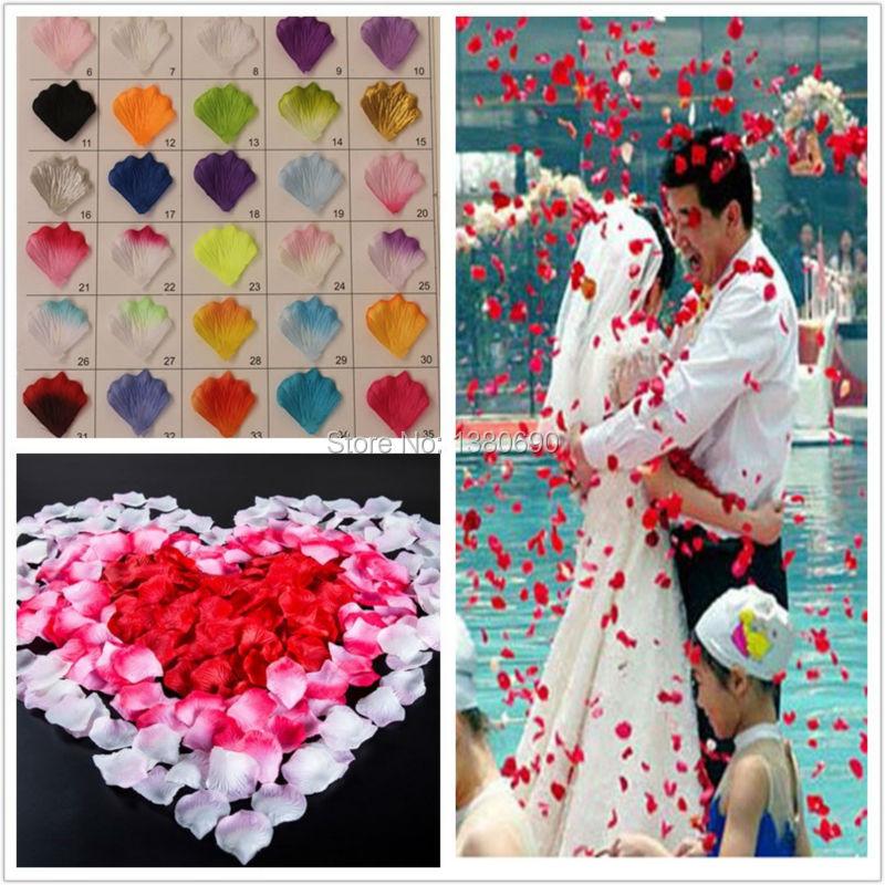 Flor Artificial 500 unids Decoración de Flores de Seda Rose Petals Tabla Confeti Wedding Party Crafts Festivo Suministros de Eventos