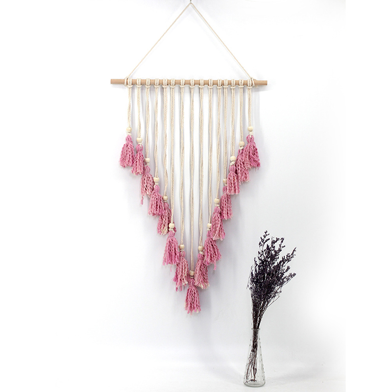 Pink Handmade Tapestry Woven Tassel Tapestry Wall Hanging Party Rustic Wedding Decoration Home Wall Decorating Tapestry(China)