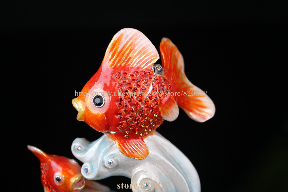 Statues de poissons à collectionner décoration bibelot boîte poissons boîte à bijoux en étain émail décor océan animaux bijoux porte-anneau - 3