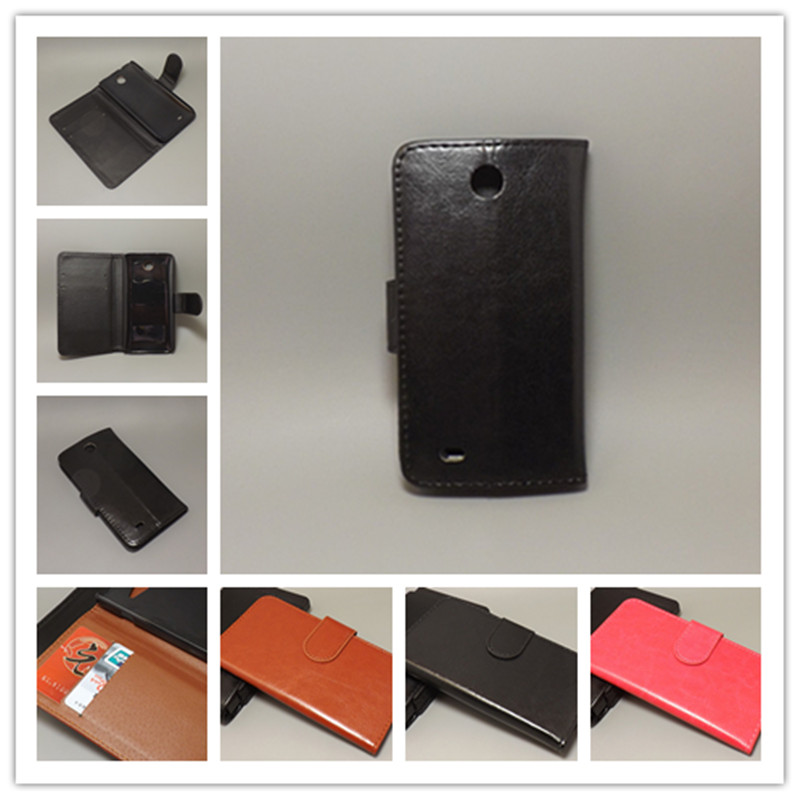 Crazy horse wallet case hold two Cards with 2 Card Holder and pouch slot For HTC Desire 300 301e Zara Mini