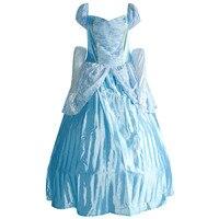 Kadın Cosplay Kostüm Açık Mavi Uzun Fantezi Elbise Ve Eldiven Kız Kıyafet Maskeli Dans Partisi Prenses Kostümleri