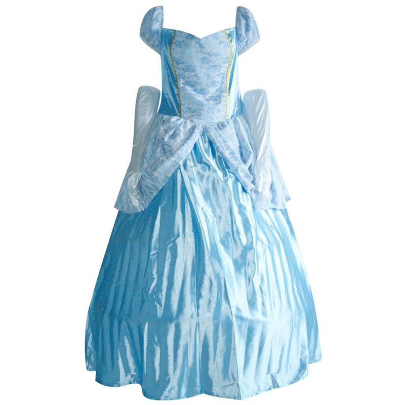 Women Cosplay Costume Light Blue Long Fancy Dress And Gloves Girls Outfit Masquerade Dancing Party Princess Costumes