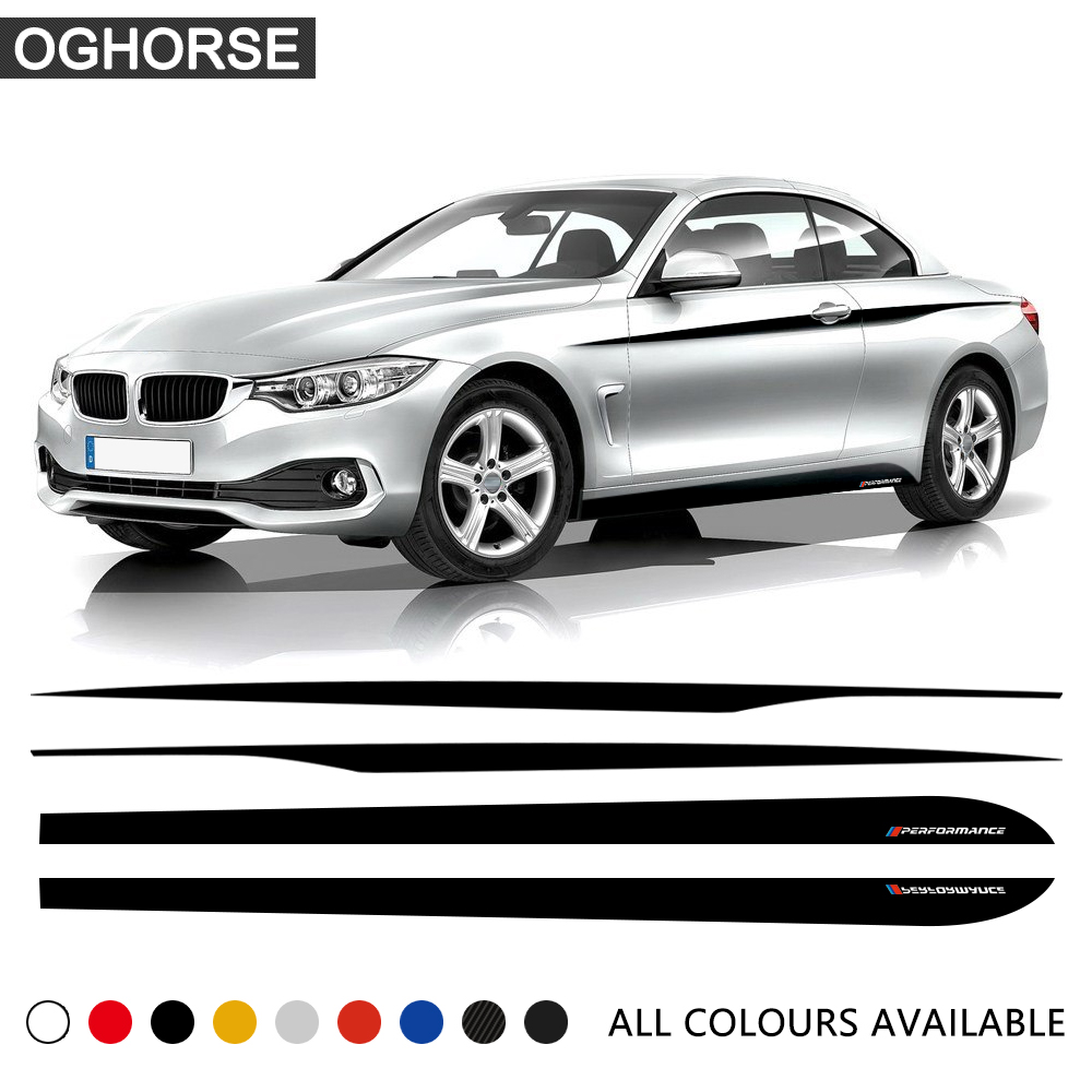 M Performance Car Door Side Stripe Waist line Body Side Stripe Skirt Stickers Decal for BMW 4 Series F32 F33 420i 428i 435i in Car Stickers from Automobiles Motorcycles