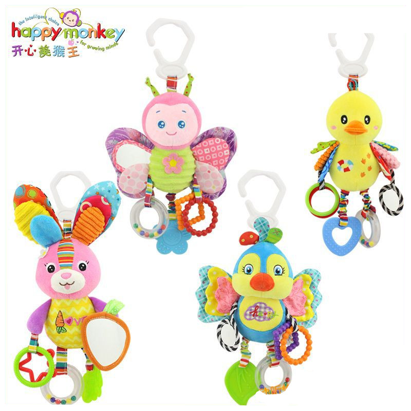 Happy Monkey Plush Stuffed Animal Bunny Butterfly Toys Rattle Teether Infant Bed Crib Hanging Toys Mobile For Children Kids Gift