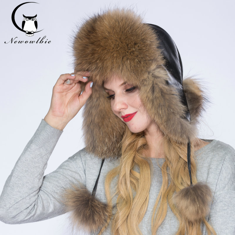 NEWOWLBIE Real Raccoon fur Hats For Women Keep Warm Hat Leather facing Fashion Design Protect Ears