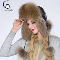 NEWOWLBIE Real Raccoon fur Hats For Women Keep Warm Hat Leather facing Fashion Design Protect Ears Young Lady Winter Hat