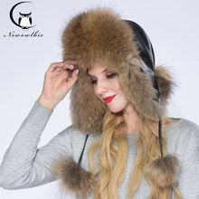 WNAORBM Real Raccoon fur Hats For Women Keep Warm Hat Leather facing Fashion Design Protect Ears