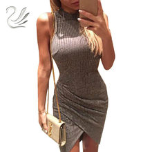 Elegant Gray Sleeveless Knitted Casual Dress Women Evening Party Sexy Bodycon Dress GirlsLadies Spring Short Pencil Vestidos(China)