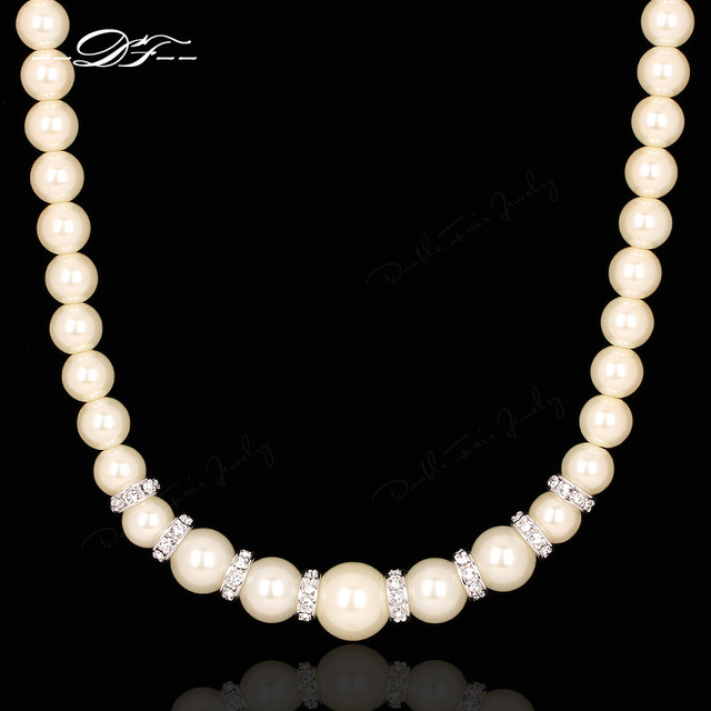 Simulated Pearl Beads Necklaces & Pendants White Gold Plated Cubic Zirconia Fashion Crystal Wedding Jewelry For Women DFN450