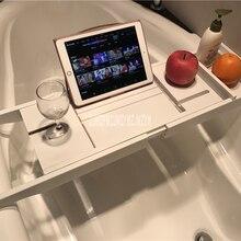Выдвижная подставка для ванной, Бамбуковая стойка для ванной, многофункциональная ванна, Caddy лоток, органайзер, полка, мостик, винный стеклянный держатель для книг