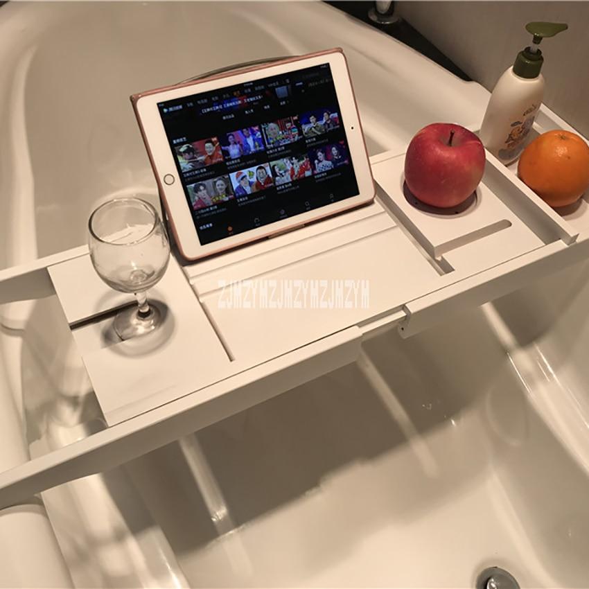 Retractable Bathtub Rack Support Bamboo Bath Rack Multifunction Tub Caddy Tray Organizer Shelf Bridge Wine Glass Book Holder