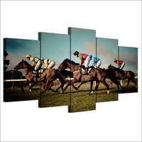 5 Piece Canvas Art HD Printed Horse Racing Painting Wall Pictures For Living Room Modular Framed