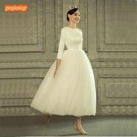 Elegant Ivory Boho Wedding Dress 2019 White Wedding Gowns Slim Fit O Neck Satin Tulle Built In Bra Zipper Beach Bridal Dresses