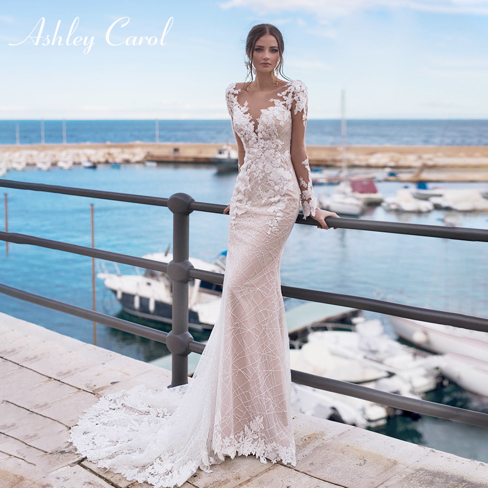 Ashley Carol Sexy V-neckline Beaded Backless Lace Mermaid Wedding Dress 2019 Long Sleeve Chic Embroidery Romantic Wedding Gowns
