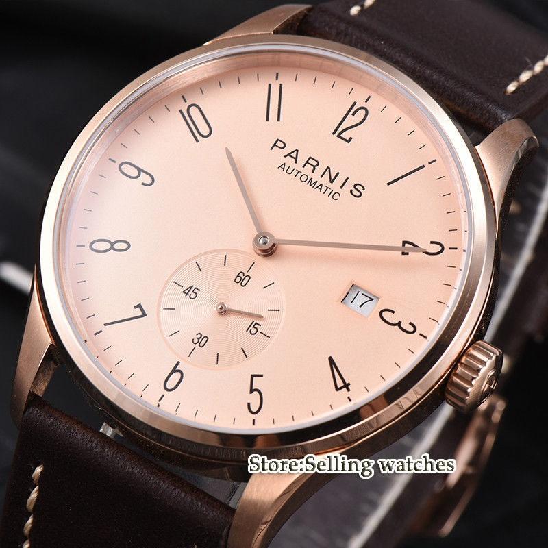 лучшая цена new arrive 42mm parnis Rose gold case date window ST 1731 automatic MENS watch