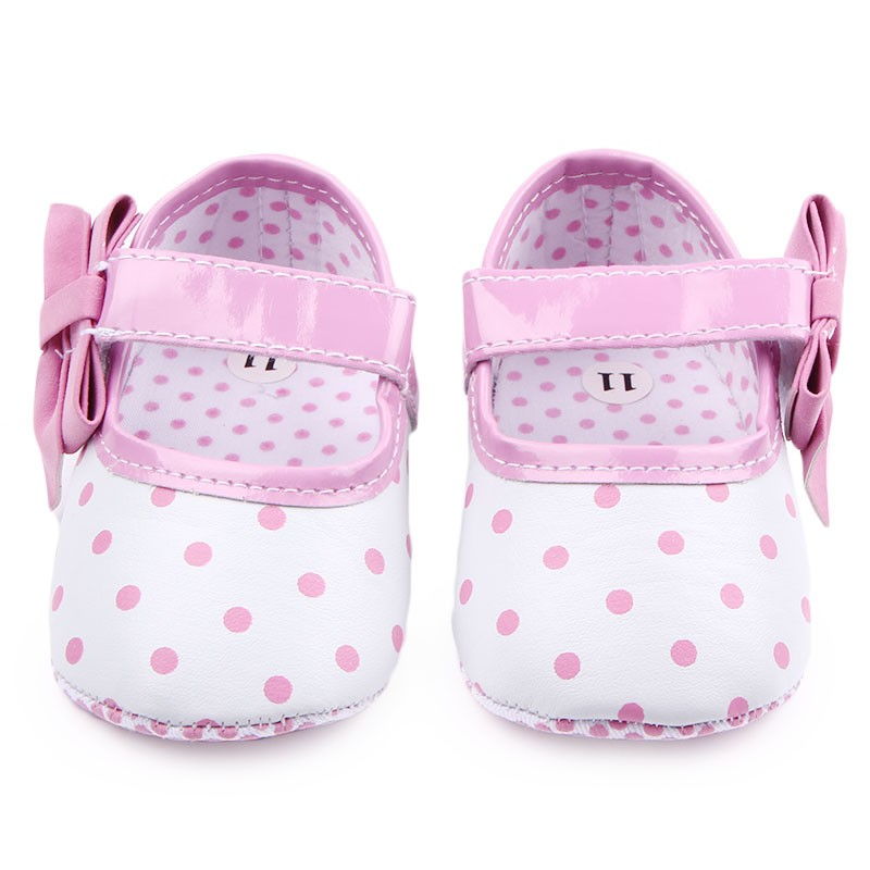 Beautiful Fashional Polka Dot Butterfly-Knot Design Soft Sole Baby Girl Shallow Shoes Newborn Shoes For 0-15 Months