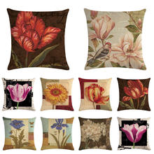Cushion Covers  Chinese style Flower Cushion Cover Decorative Beige Linen Pillow Case цена и фото