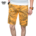 2017 Men's Shorts 100% Cotton Breathable Slim Fit Casual Beach Shorts Business Leisure Printing Fashion Youth Shorts Yellow Blue