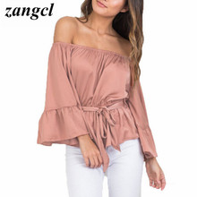 Zangcl Sexy off shoulder ruffle satin blouse shirt Soft flare sleeve bow summer tops Elegant glossy pink women blouses