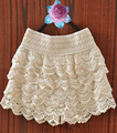 Moda Plus Size Crochet Lace Shorts Mulheres Elástico Na Cintura Fina Hip Camadas Saias Curtas Hotpants Jupe Corto Preto Branco Quente