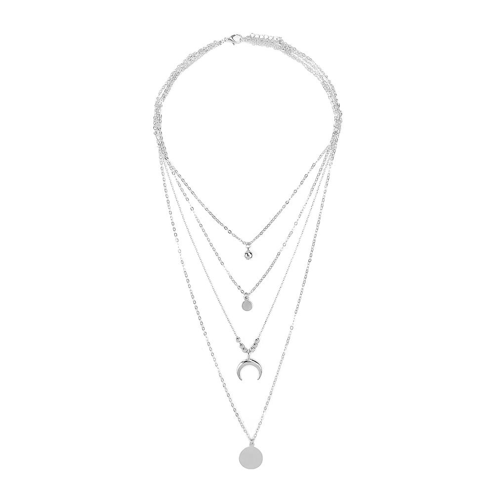 Women Multi-layer Choker Cute Moon Pendant Personality Clavicle Necklace Set