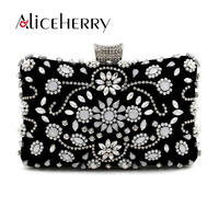 Aliceherry Pearl diamond evening bags luxury silver chain clutch bag elegant black bag party wedding bridal box purse for Women