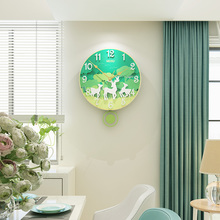 MEISD 3D Creative Green Forest Animal Bird Deer Round Wall Clock Modern Design Hanging Watch Silent Swingable Quartz Clocks