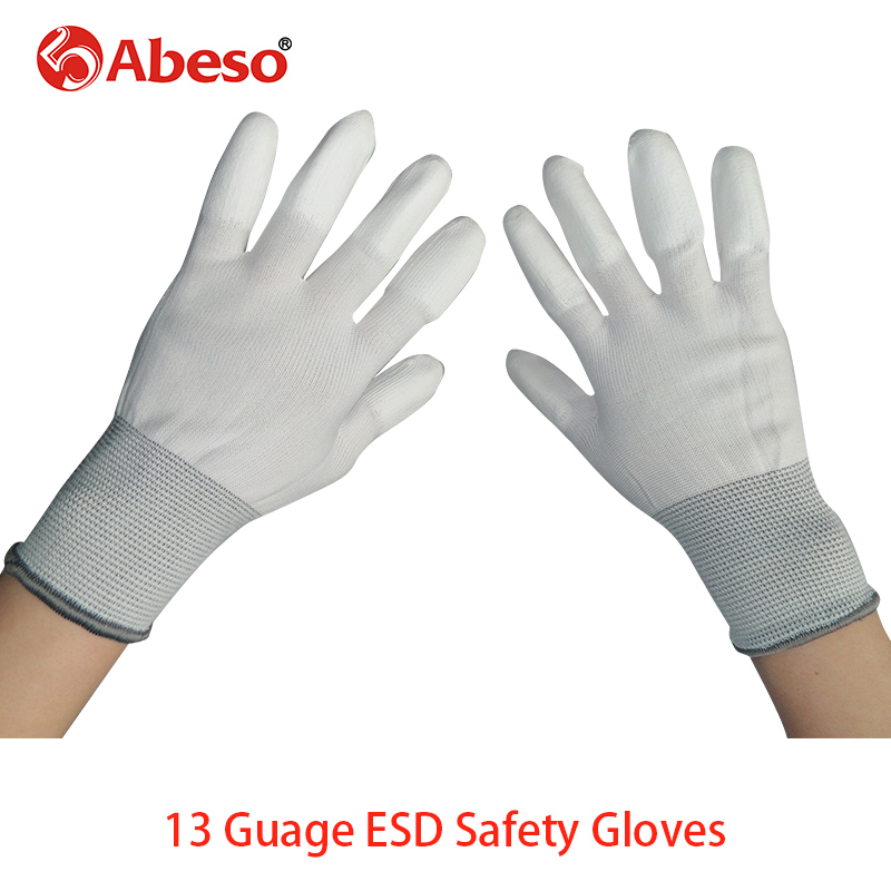 1Pair 13G ESD Safety Gloves electronic Anti-static Glove Nylon Glove With PU Polyurethane Palm AntiStatic Work Glove A3001 500 grams about 750pcs milky latex rubber powder free working protective finger sets anti cutting cleanroom esd work gloves