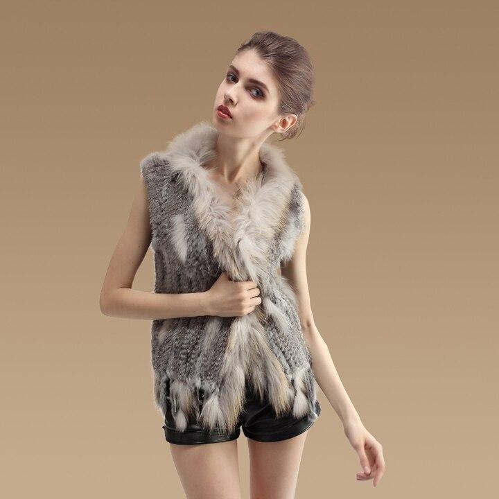 YCFUR femmes gilets hiver tricot réel lapin fourrure gilet avec raton laveur chien fourrure collier garnitures dames vestes gilets femme