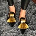 Diseñador de Terciopelo Mujeres Zapatillas Sandalias de Gladiador Del Verano Zapatos Planos Ocasionales Mujer Flecos Borlas Punta estrecha Holgazanes Pisos Diapositivas