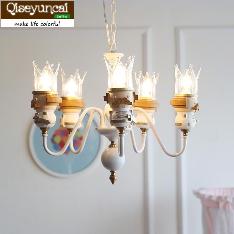 Qiseyuncai Американский новый король детская комната цепи кулон люстра просто пришлите светодиодный лампы Для мальчиков и девочек спальня ламп...