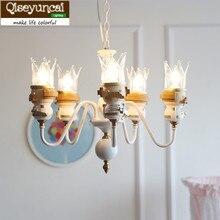 Qiseyuncai Американский новый король детская комната цепи кулон люстра просто пришлите светодиодный лампы Для мальчиков и девочек спальня лампа