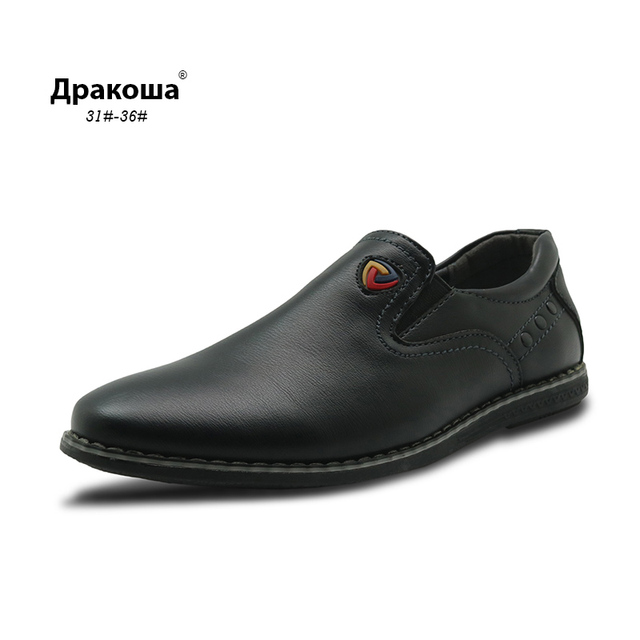 Apakowa Children Leather Shoes For Boys Dress Shoes Black Flat Dancing Lace  Up PU Genuine Leather School Students Shoes EU31 36-in Sneakers from Mother  ... ce7dafcb0dd7