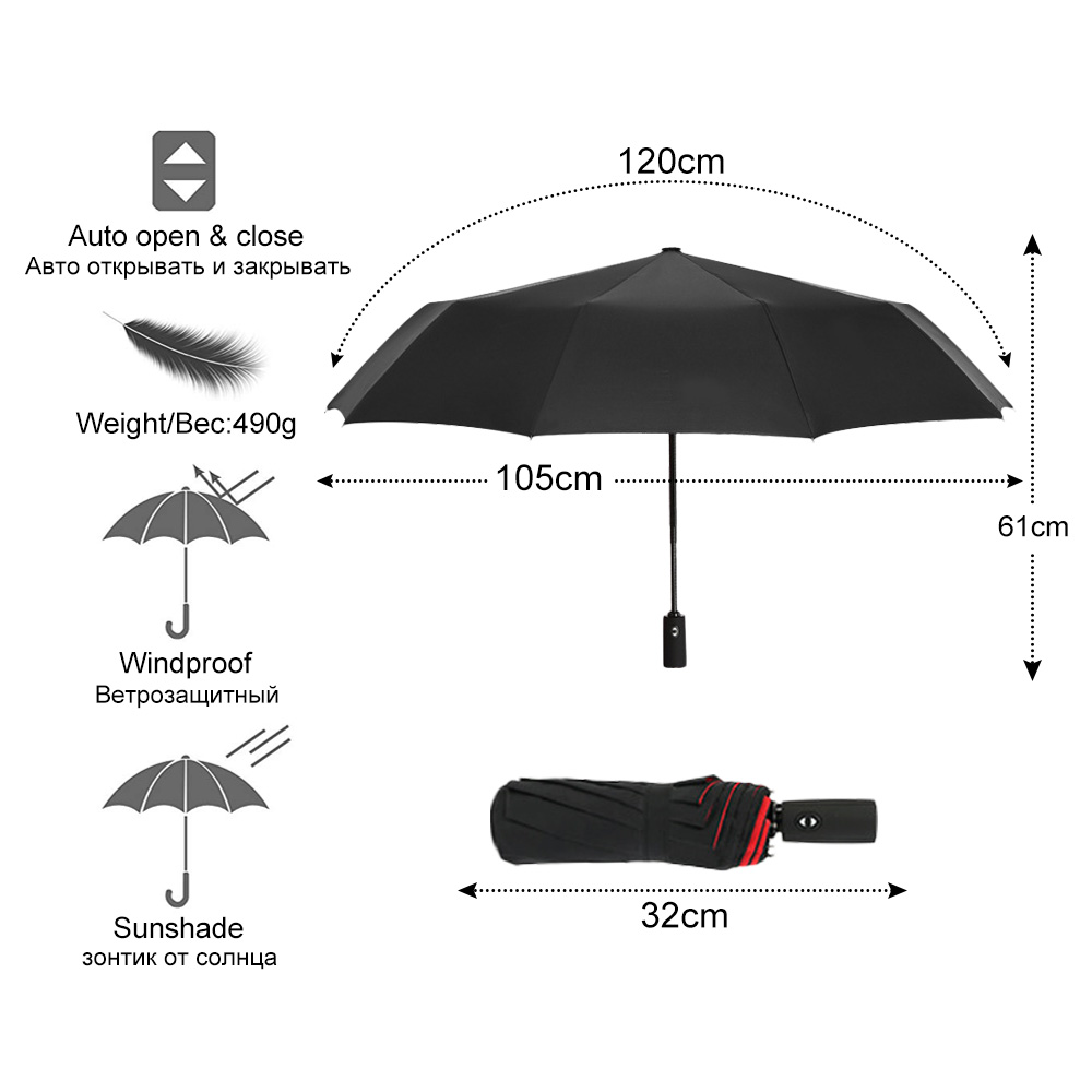 Strong Wind Resistant Double Fully-automatic Umbrella Folding 10K Large Fiberglass Parasol Rain For Women Men Business Umbrellas