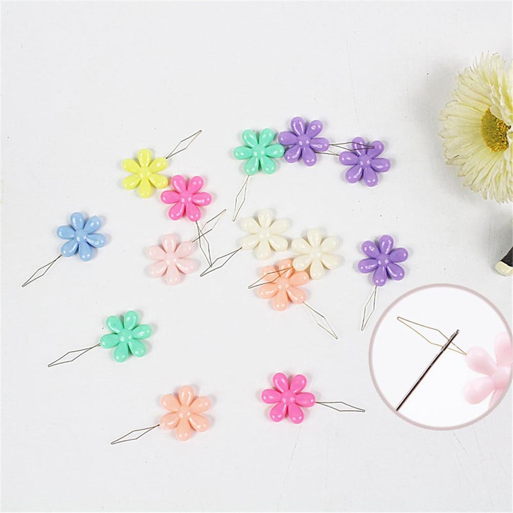 6pcs Random Color Plastic+Metal Flower Head Wire Loop DIY Needle Threader Tool R