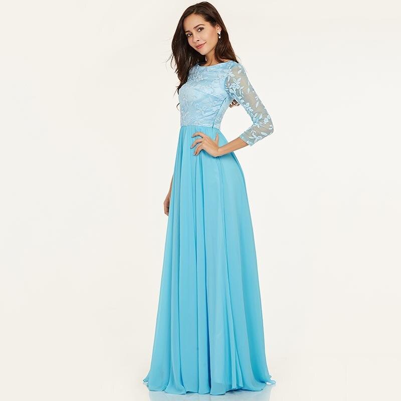 Tanpell duga večernja haljina led plava bateau vrat puna rukavima - Haljina za posebne prigode - Foto 2