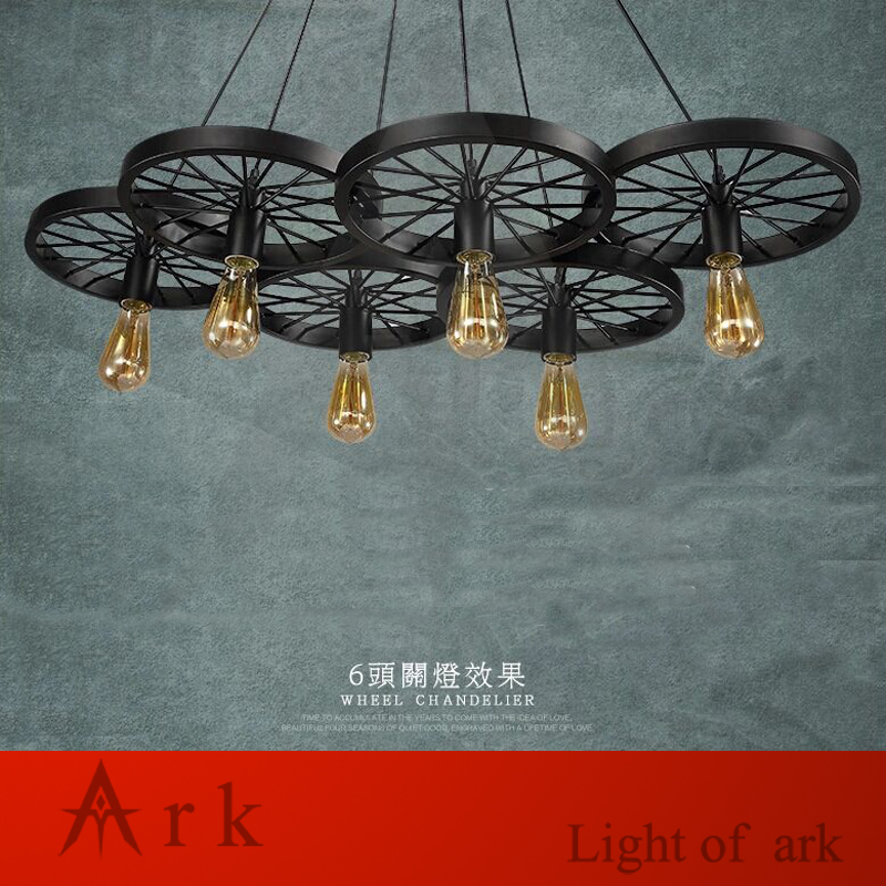 ARK LIGHT Free shipping Vintage 100-240V 6 heads IRON  wheels pendant lights loft industrial style retro nostalgia  COFFEE HOUSE