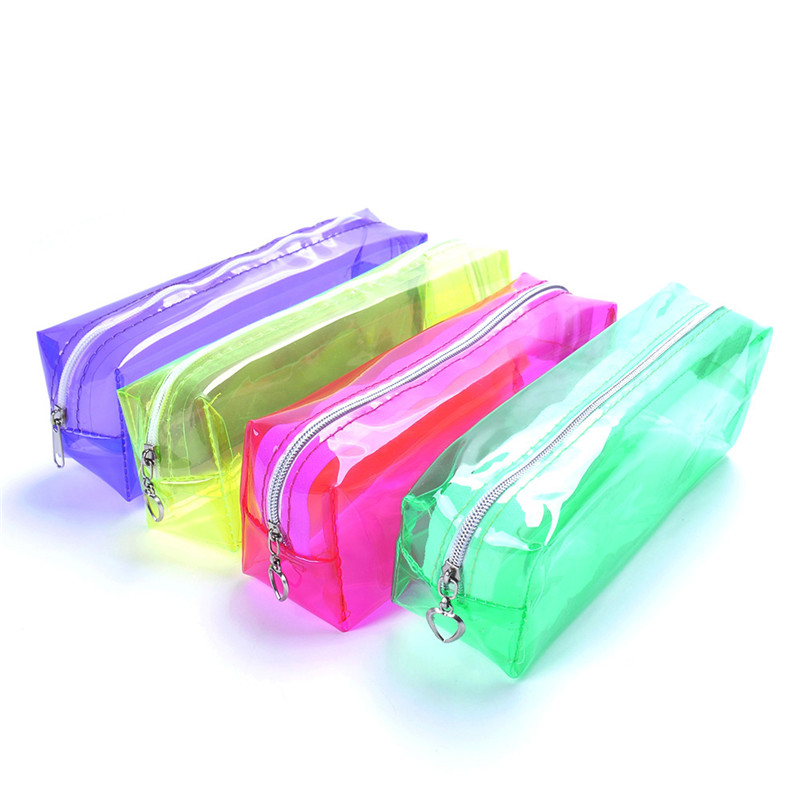 Hot Sale Candy Color Transparent School Supplies Pencil Cases for Girls Boys Large Capacity stationery Pencil Bags Free shipping noverty large capacity multifunctional canvas pencil cases boys girls stationery bags for school supplies material escolar 04803