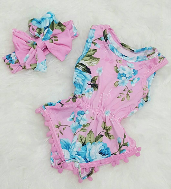 32e656f76 Baby girl outfit floral jumpsuit romper pom pom arrow design with headband  big bow birthday outfit jumpsuit 1st birthday
