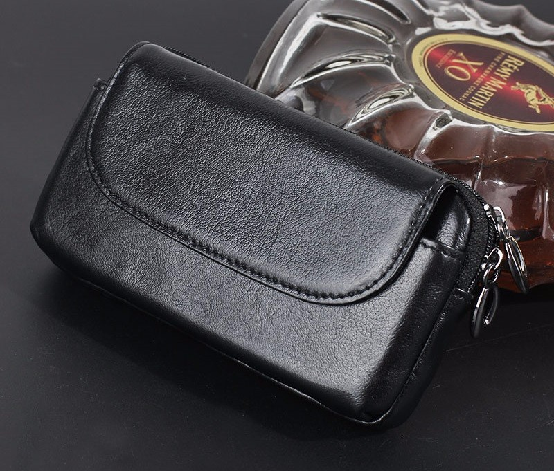 Black genuine leather belt clip pouch bag case