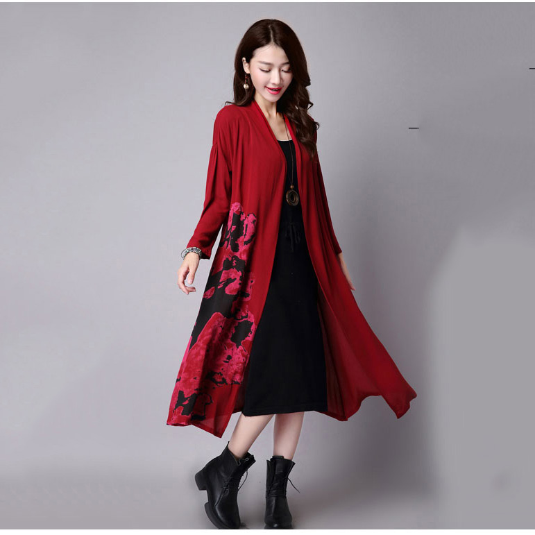 2018 Spring Autumn ladies dress outcoat women Long Sleeve Dress Ethnic Clothes Girl Trench Overcoat Vintage Windbreaker Abrigos