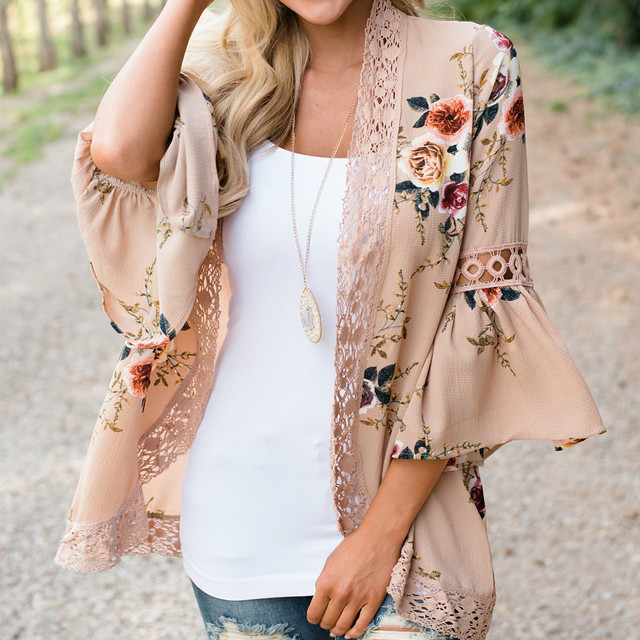 3XL Women's Shirt Autumn Chiffon Coat Plus Size Open Stitch Loose Coats Bohemian Beach Lace Stitching Flare Sleeve Jackets Tops