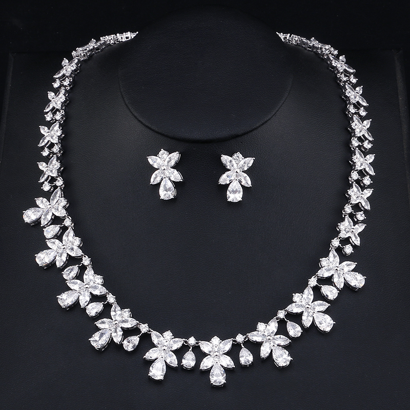 UILZ Flower Shape  Necklace & Earrings 2 Pcs Women Jewelry Set Elegant CZ Stone Jewelry  For Wedding Bridal Party  US 393UILZ Flower Shape  Necklace & Earrings 2 Pcs Women Jewelry Set Elegant CZ Stone Jewelry  For Wedding Bridal Party  US 393
