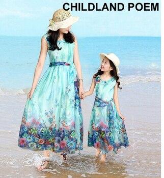 d1aeaf5cf 2016 madre e hija verano ropa familia matching outfits mamá niña floral sin  mangas de la