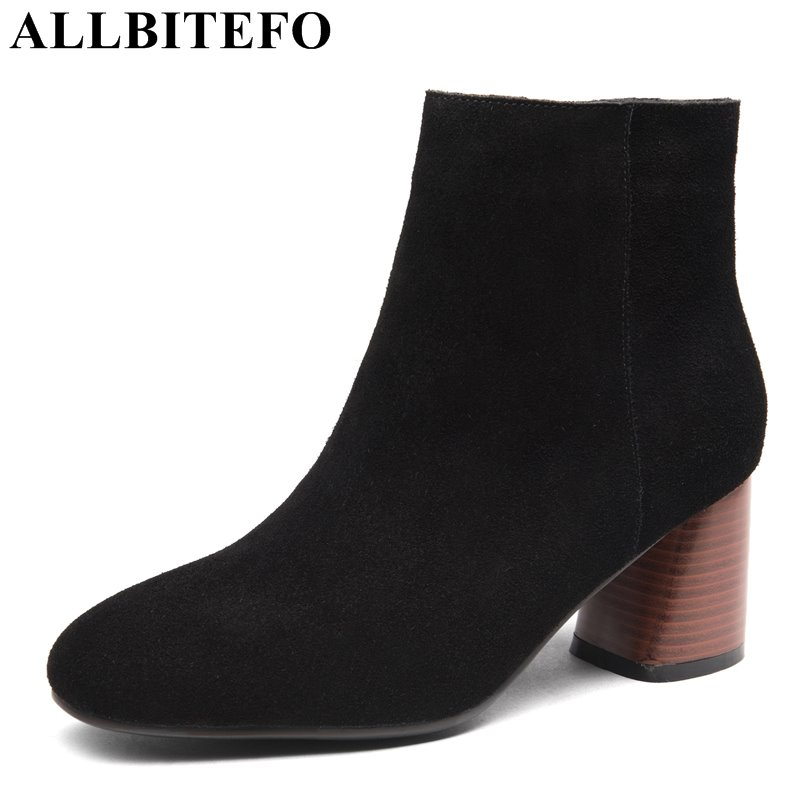 ALLBITEFO Nubuck leather square toe thick heel women boots fashion brand medium heel winter boots ankle boots bota de neve shiningthrough 2018 round toe cow leather solid nude women ankle boots thick heel brand women shoes causal motorcycles boots