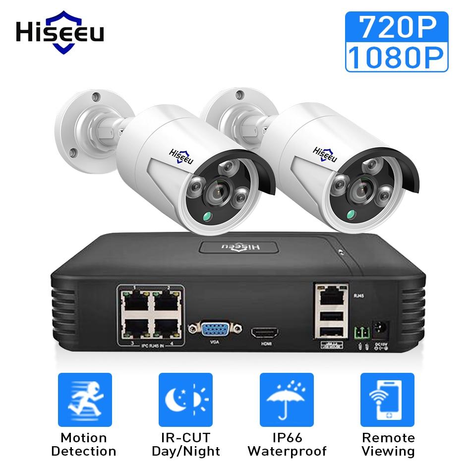 4CH 1080P POE NVR kits CCTV system with 2pcs 720P 1080P IP Camera IR Outdoor Waterproof P2P home Security Surveillance Hiseeu цена