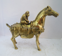 Collectible Chinese Decorated Brass Carved monkey on horse Sculpture /monkey statue Free shipping