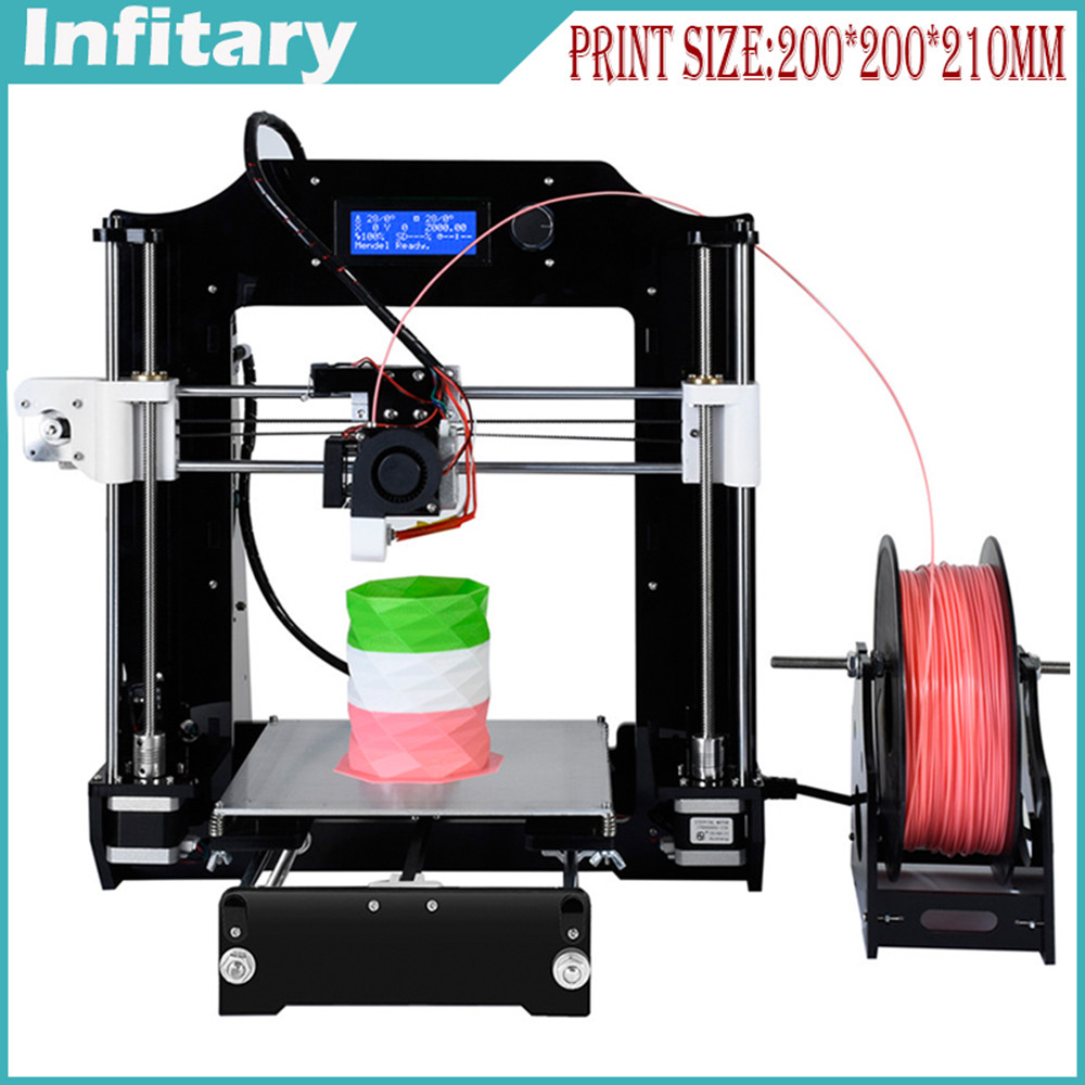 Newest Infitary Prusa I3 Acrylic frame Extrusion 3D Printer kit printer 3d printing 1 roll Filament 8GB SD card LCD As Gift